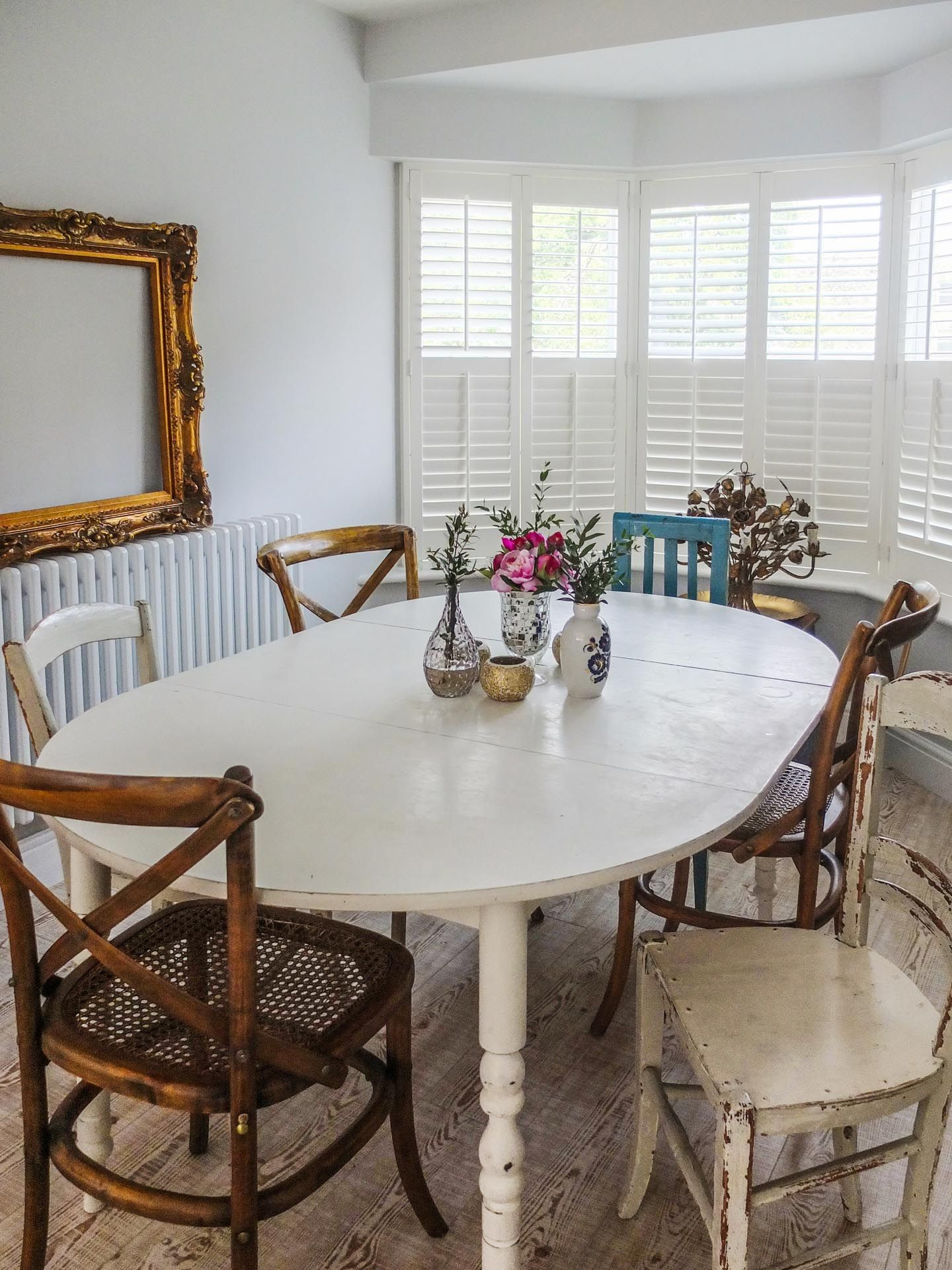 Mismatched chairs and white washed table #diningroom # ...