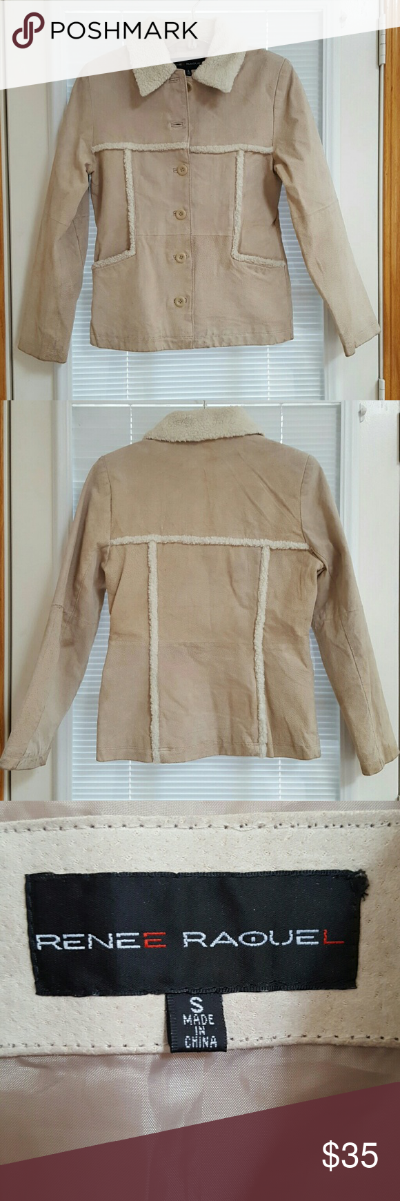 Faux Shearling Sport Jacket Genuine leather; light camel/ beige color; cream fur; button down; fully lined, traditional, timeless design. Perfect for fall. Needs a mild, light cleaning. Excellent condition Renee Raquel Jackets & Coats