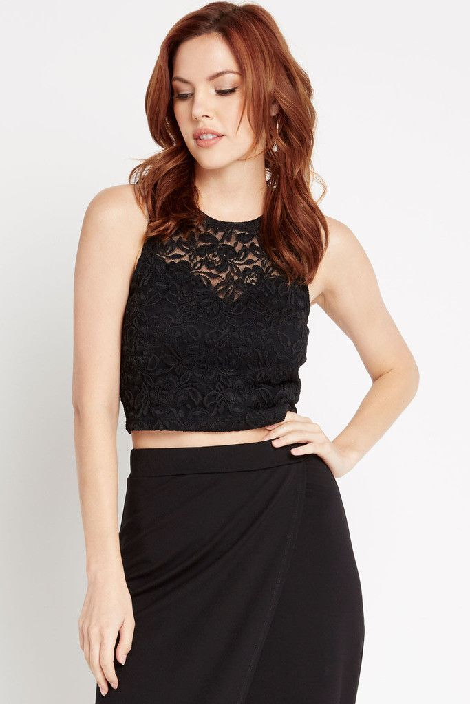 Black Flawless Floral Lace Crop Top