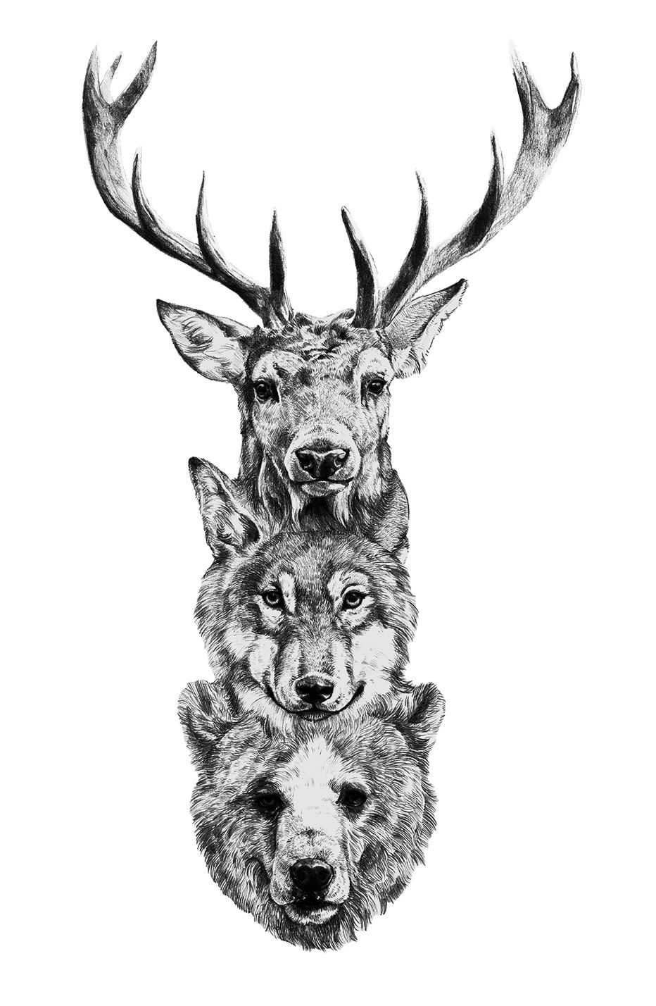 Deer Bear Wolf Totem Tattoo Totem Tattoo Animal Tattoos Animal Tattoo