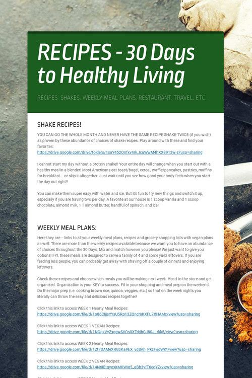 Recipes 30 Days To Healthy Living In 2020 Recipe 30