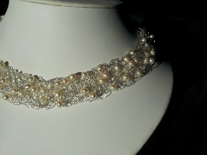Perlas y cristales de plata alambre ganchillo Collar   CROCHET CON ...