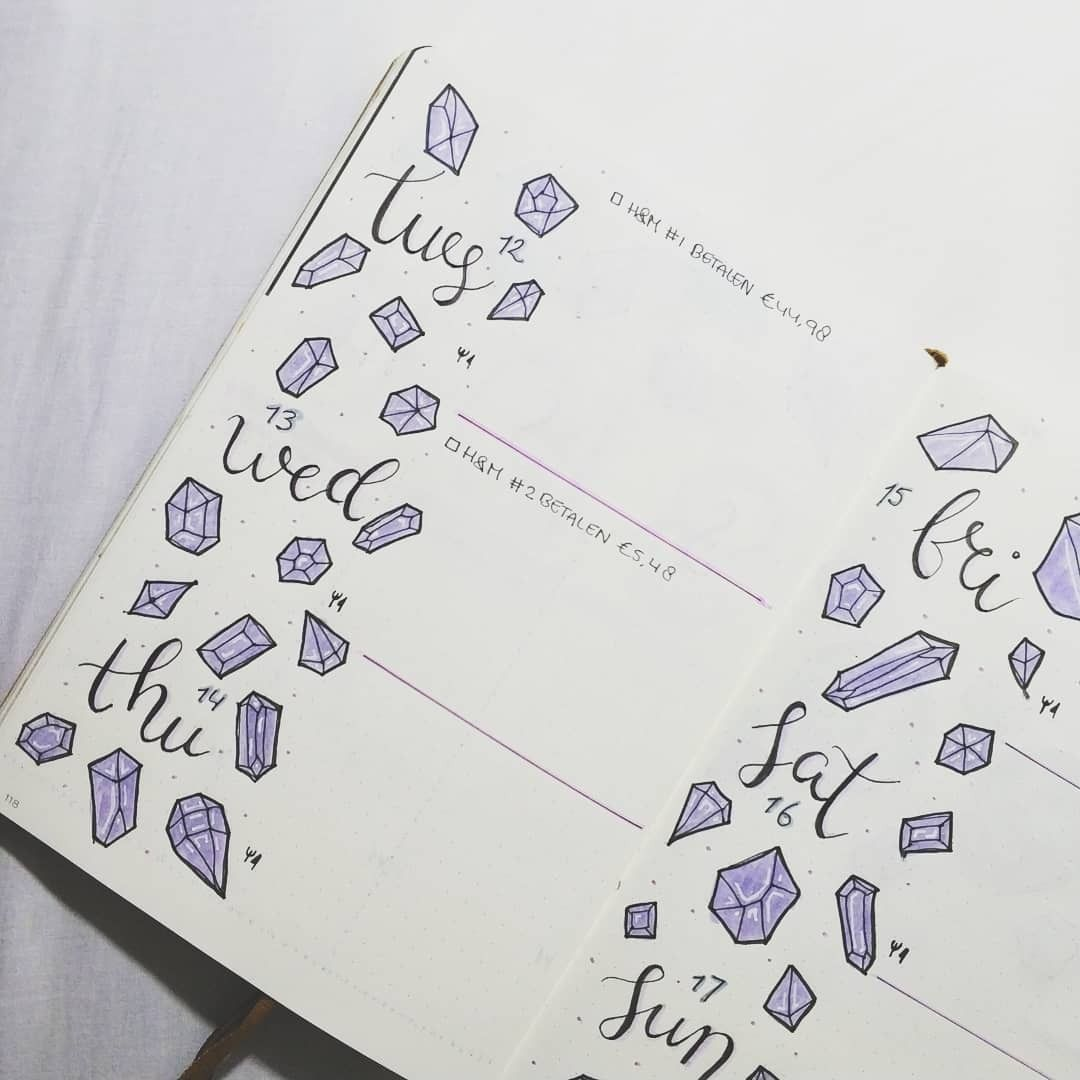 bujo.by.marieke Bullet journal weekly layout gemstones | Bullet ...
