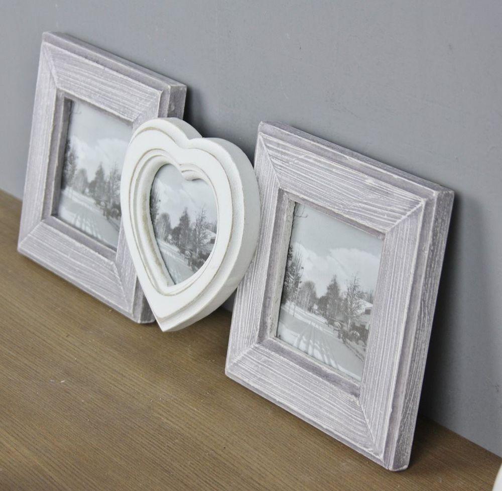Holz Bilderrahmen Fotorahmen Herz Herzrahmen schwarz weiß Holzrahmen NEU