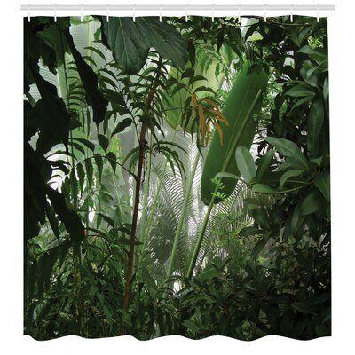 East Urban Home Rainforest Single Shower Curtain Set Hooks Cheap Shower Curtains Vinyl Shower Curtains Bathroom Decor Sets