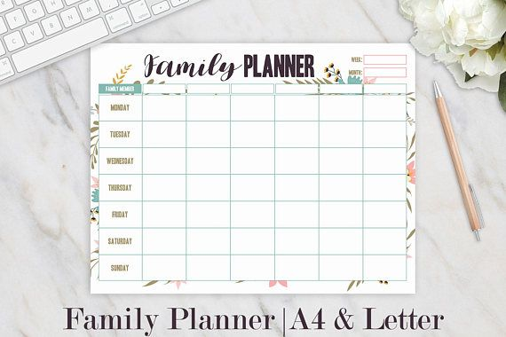 family weekly planner family planner printable weekly floral