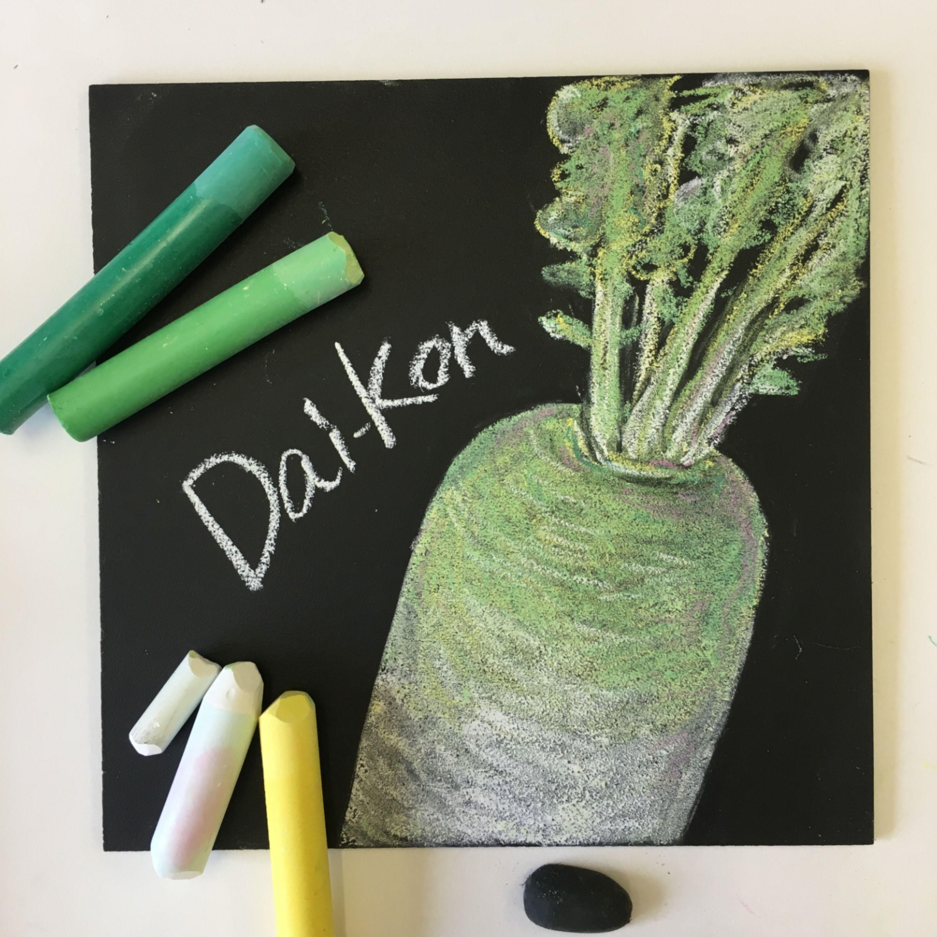 Japanese Radish Chalkboard Art Lettering