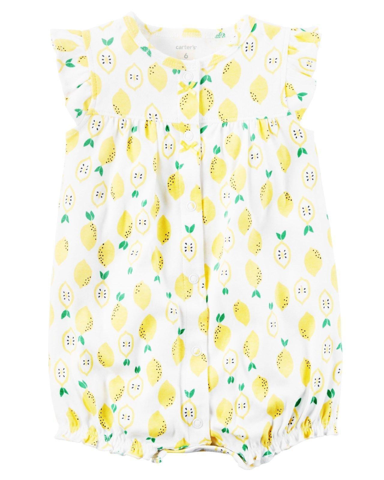 a1e5427b0  11.0 - Carter s Girls Lemon Fruit Print Summer Romper Outfit Nwt 3M ...