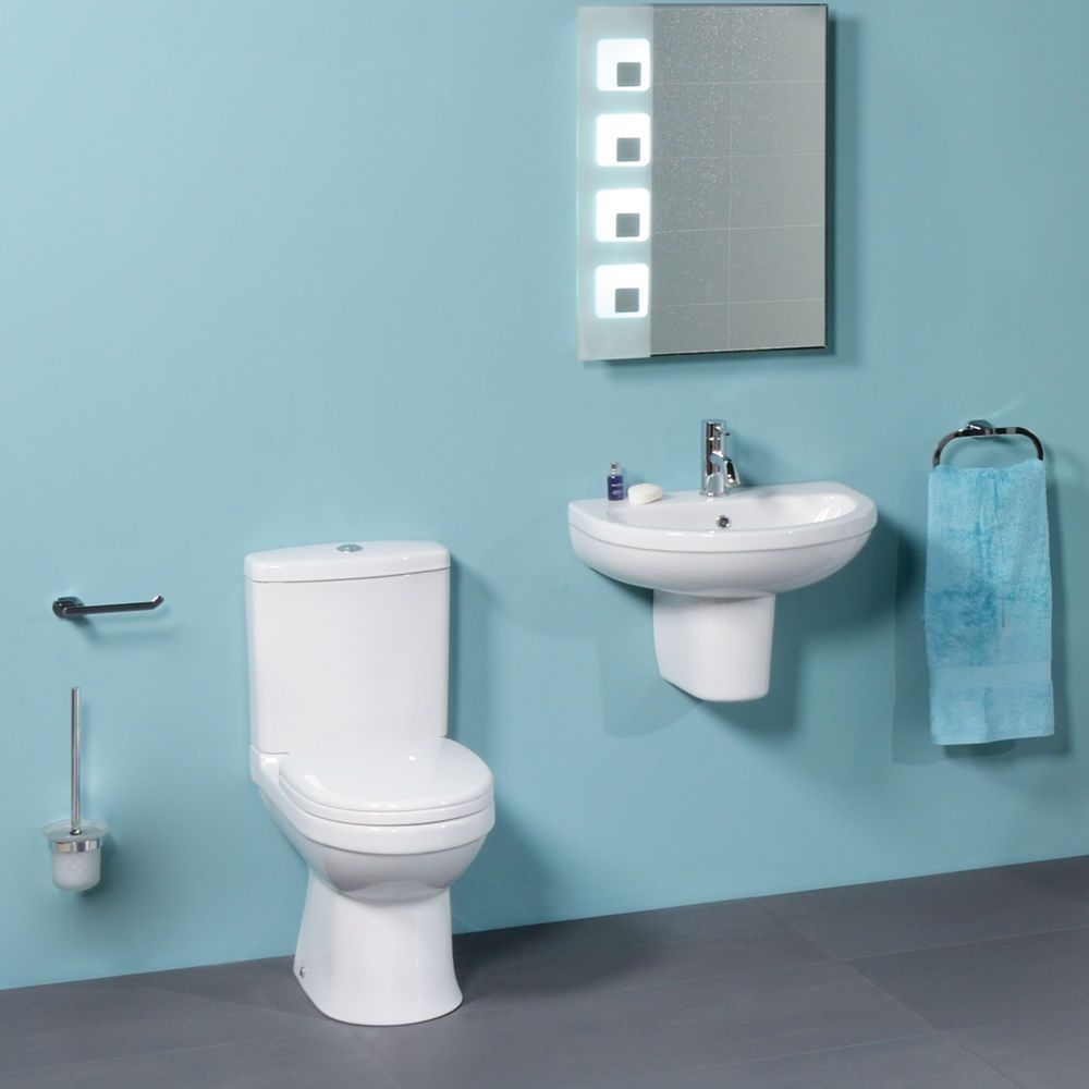 WC Suite Cloakroom Bathroom Toilet and Basin Sink Set ; Modern White ...