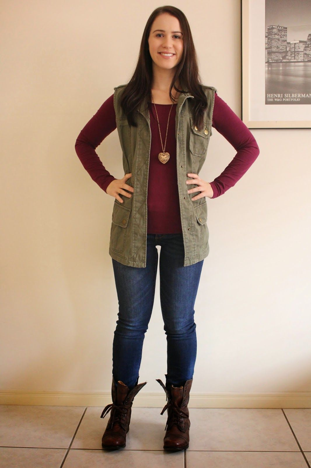 Casual Weekend Outfit Khaki Military Vest & Combat Boots