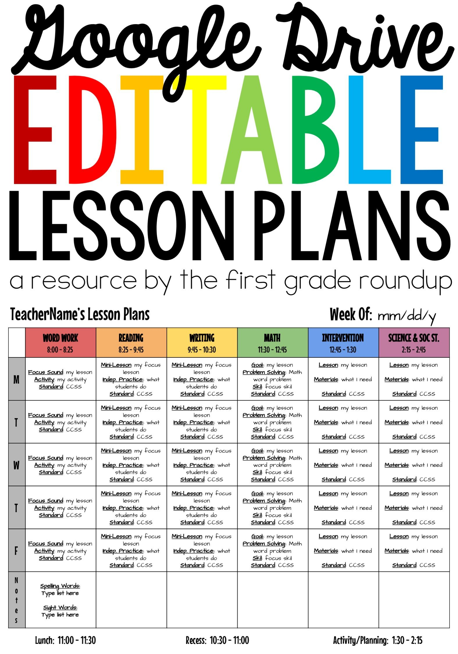 Lesson Plan Templates Editable Compatible With