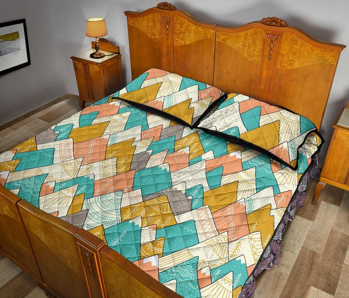 Mountain Colorful Pattern Print Bed Set Quilt