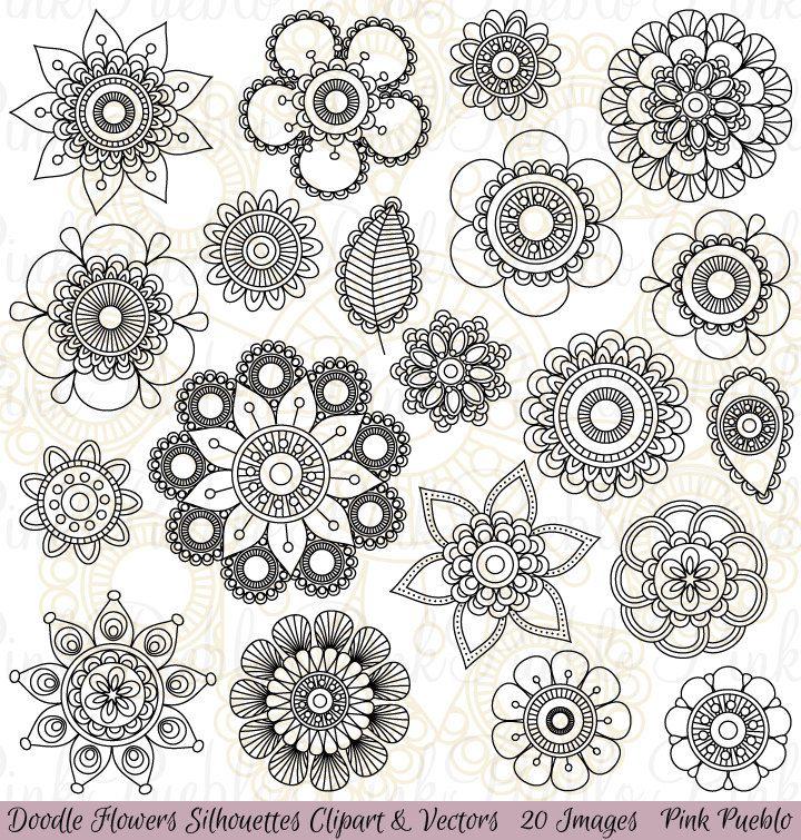 Le Jeu Doodle Fleurs Silhouettes Clipart Est Livre Avec 20 Fichiers Png Avec Fond Transparent 20 Fichiers Jp Flores Para Dibujar Mandalas Estampados Zentangle