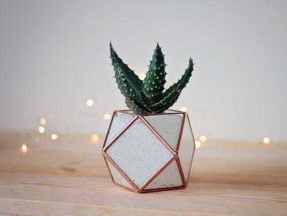 Coworker Gift Geometric Terrarium Minimalist Desk Planter Mom Plant Stained Gl