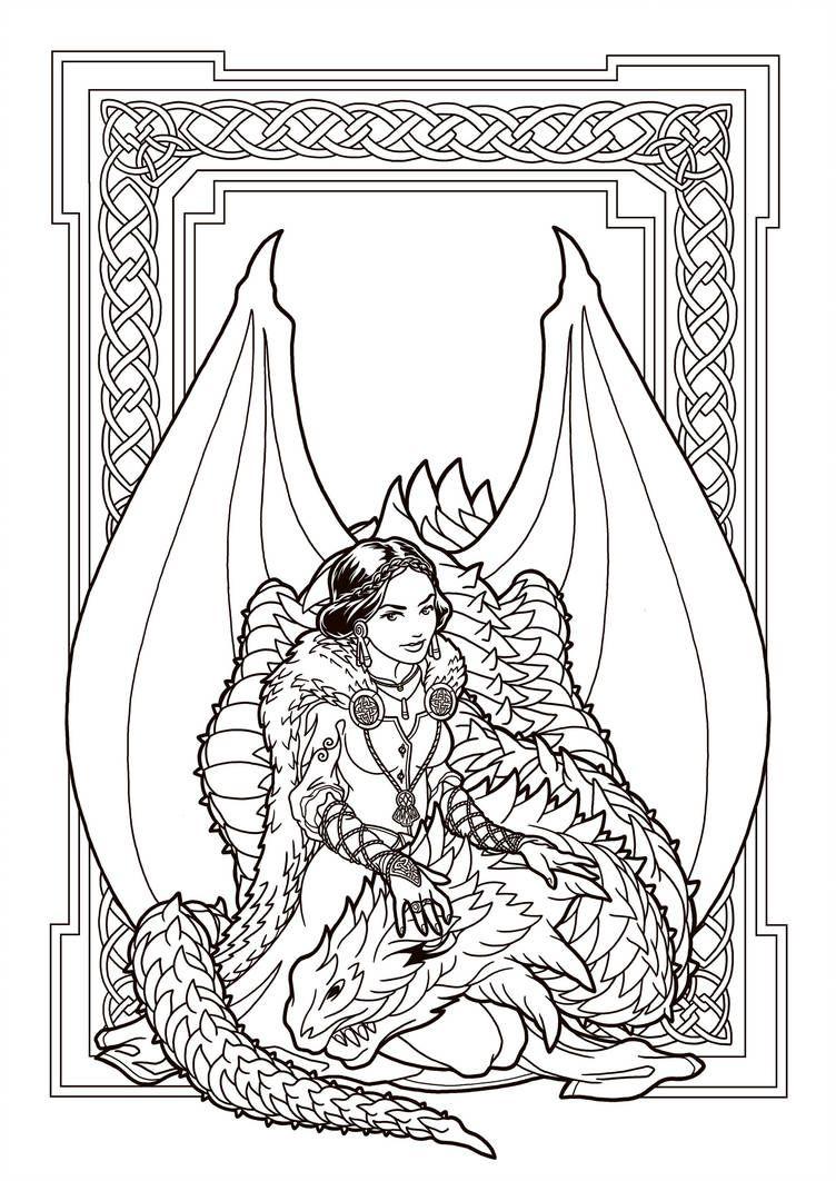 Dragon Enchantress Lines By Deviantashtareth Dragon Coloring Page
