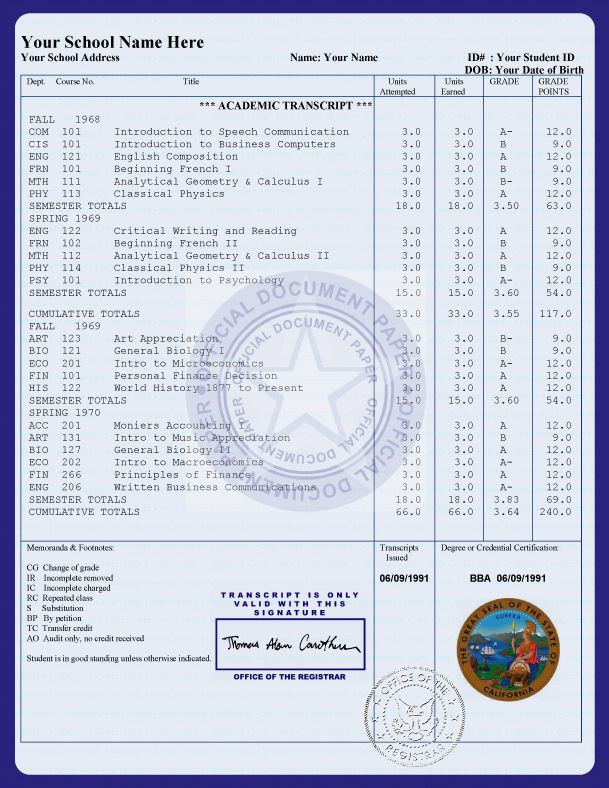 Free College Transcript Template Buy Diplomas And Transcripts 24 Hour Translation Services