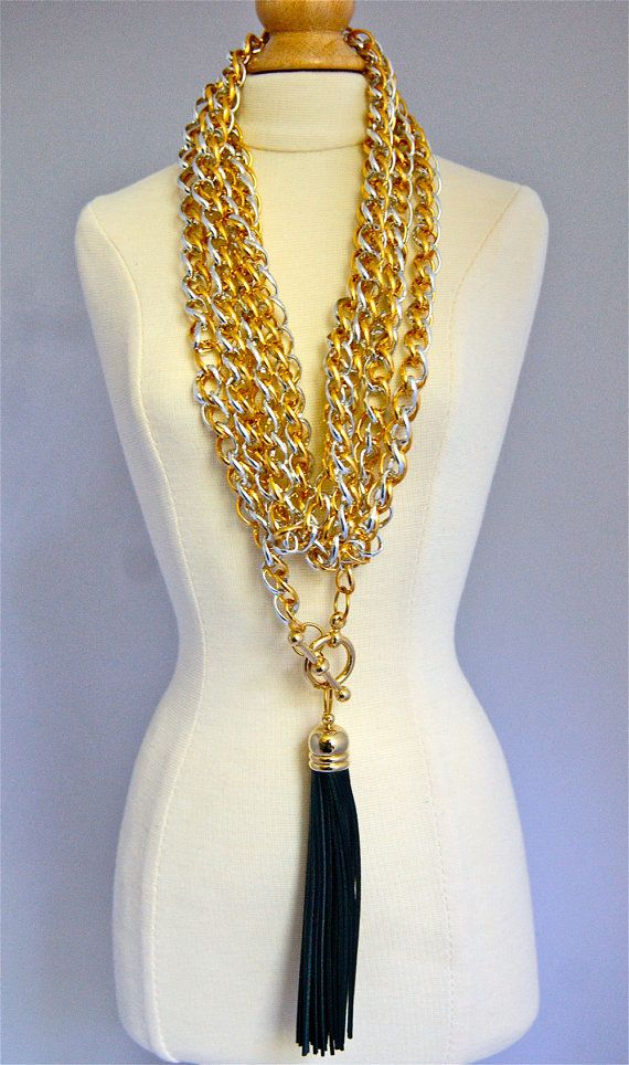 Gold and Silver Leather Tassel Wrap Necklace by AGRustica on Etsy, $95.00