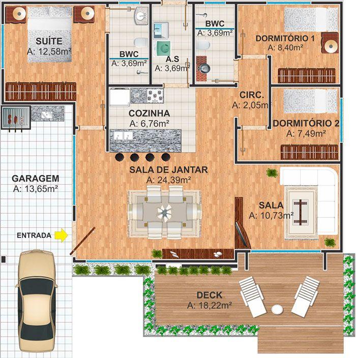 Maravilloso Plano De Casa De 3 Dormitorios Con 110 M2 Casas Tradicionales Planos De Casas Apartamentos Modernos