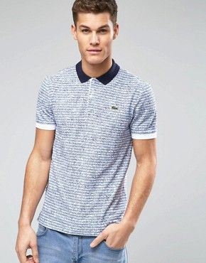 48e1dba1 Lacoste Live Polo Shirt with Stripe and Print Slim Fit £100.00 ...