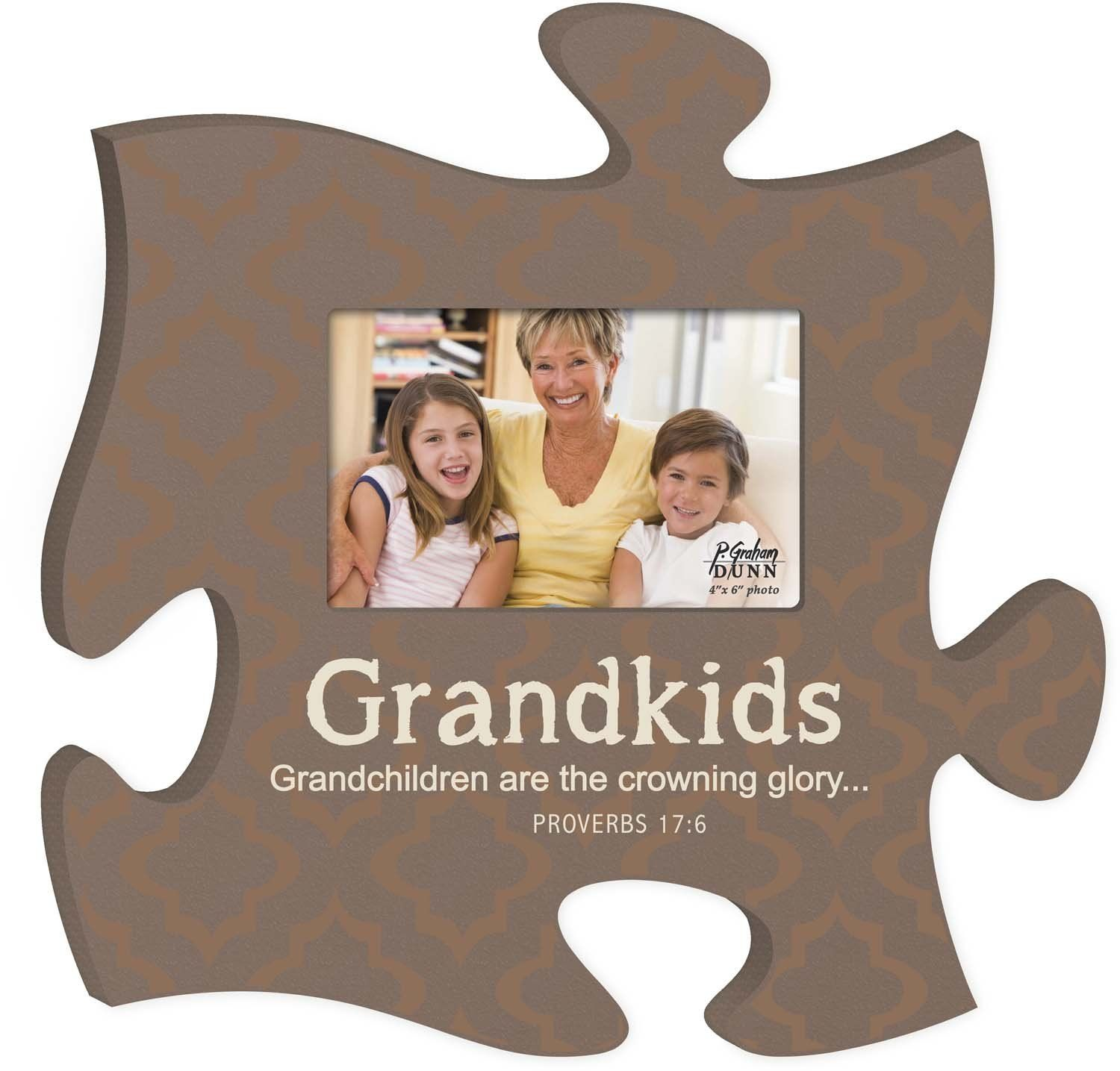 Grandkids Crowning Glory On Grey Damask 12 X 12 Wall Hanging Wood Puzzle Piece Photo Frame Click Image For Puzzle Picture Frame Puzzle Frame Family Puzzles