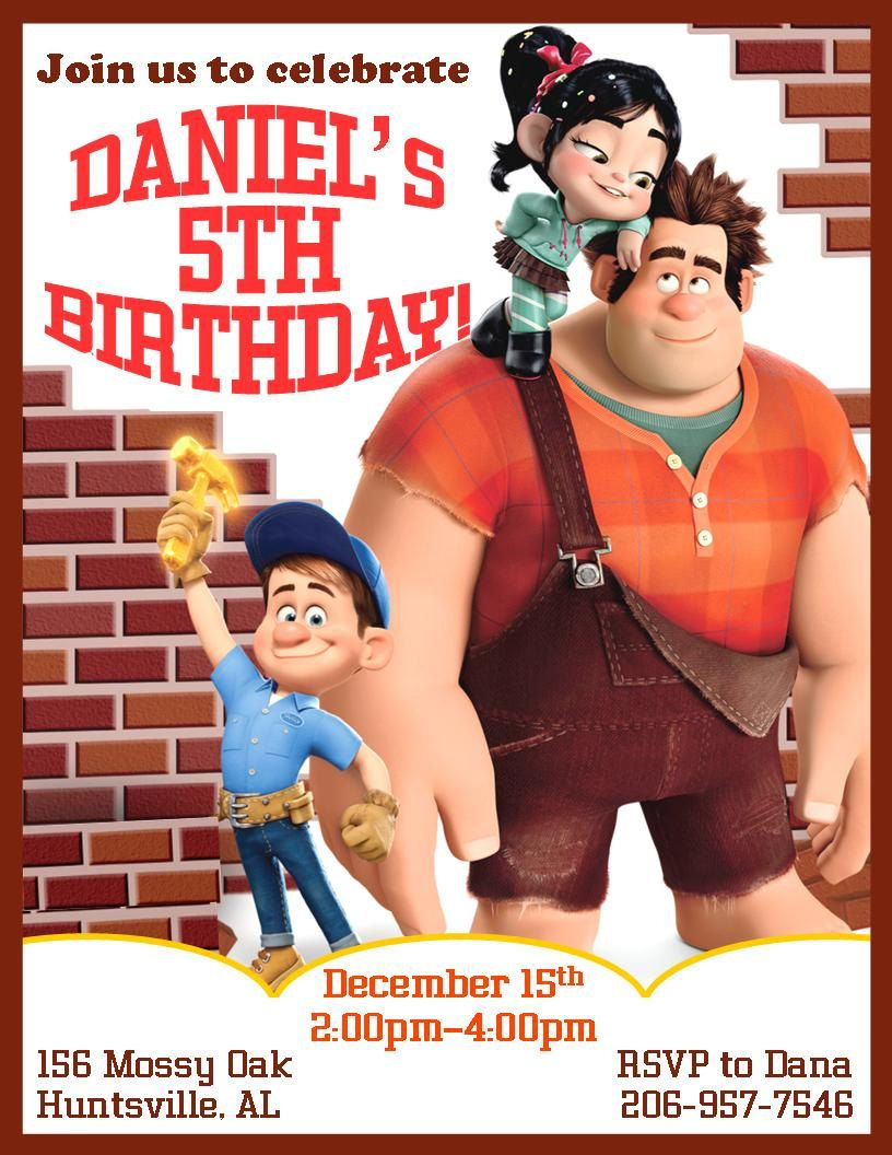 12 PRINTED Wreck-It-Ralph Personalized Birthday Invitations -3 ...