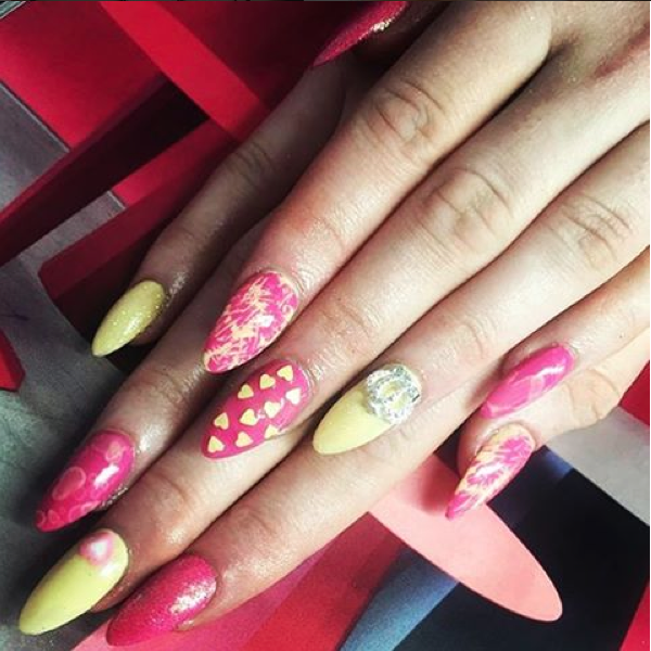 Have #barbie meets the #sexpistols  #nailartwow #nailart #naildesign #girliepunk #bbloggersuk #fbloggersuk #fashion #beauty #instanails #instalove #instalike #beyourself #beyou #style #pink #yellow #princess #spikednails #expressyourself