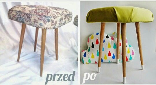 Vintage stool retro prl wood and seat has been renovated see
