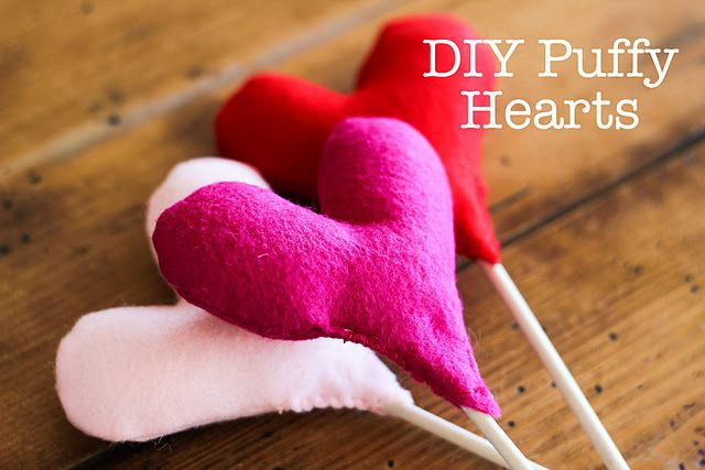 DIY Puffy Hearts {+ a mustache}