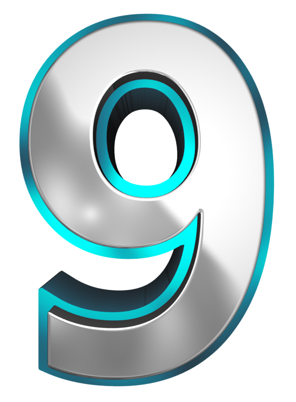 Metallic And Blue Number Nine Png Clipart Image Numbers Font Clip Art Clipart Images