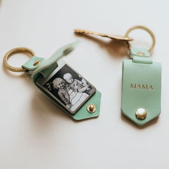 Photo of Personalized Christmas Photo Keychain – Leopard Print, Mint Green or Natural Leather Case + Gold Initials – Handmade Gift for Her, Keychain