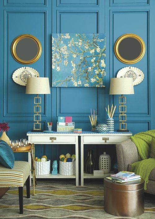 Interior design inspiration  Analogous: This room has a great combination  of blue, green and gold/yellow