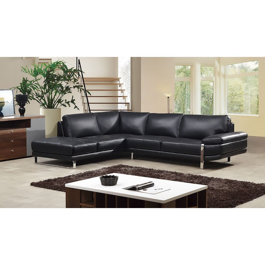 Awe Inspiring American Eagle Black Italian Leather Right Chaise Sectional Spiritservingveterans Wood Chair Design Ideas Spiritservingveteransorg