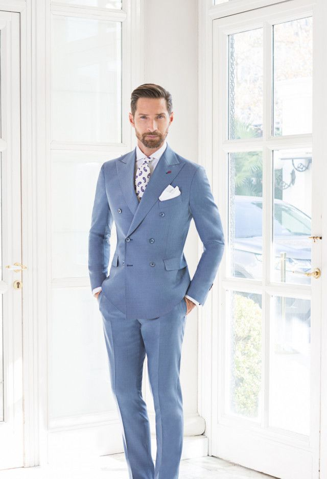 6a9a89a961 Light Blue Double Breasted Suit   Groom attire in 2019   Light blue ...