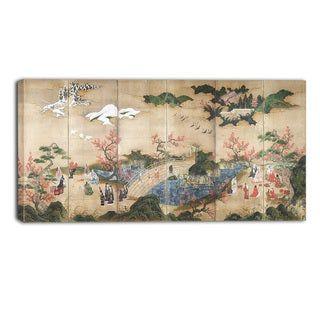 Design Art 'Kano Hideyori - Maple Viewers' Canvas