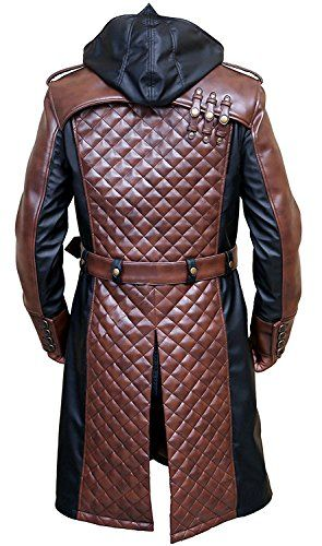 0de875a13413 Jacob Frye Assassin's Creed Syndicate Brown and Black Leather Trench Coat  at Amazon Men's Clothing store: