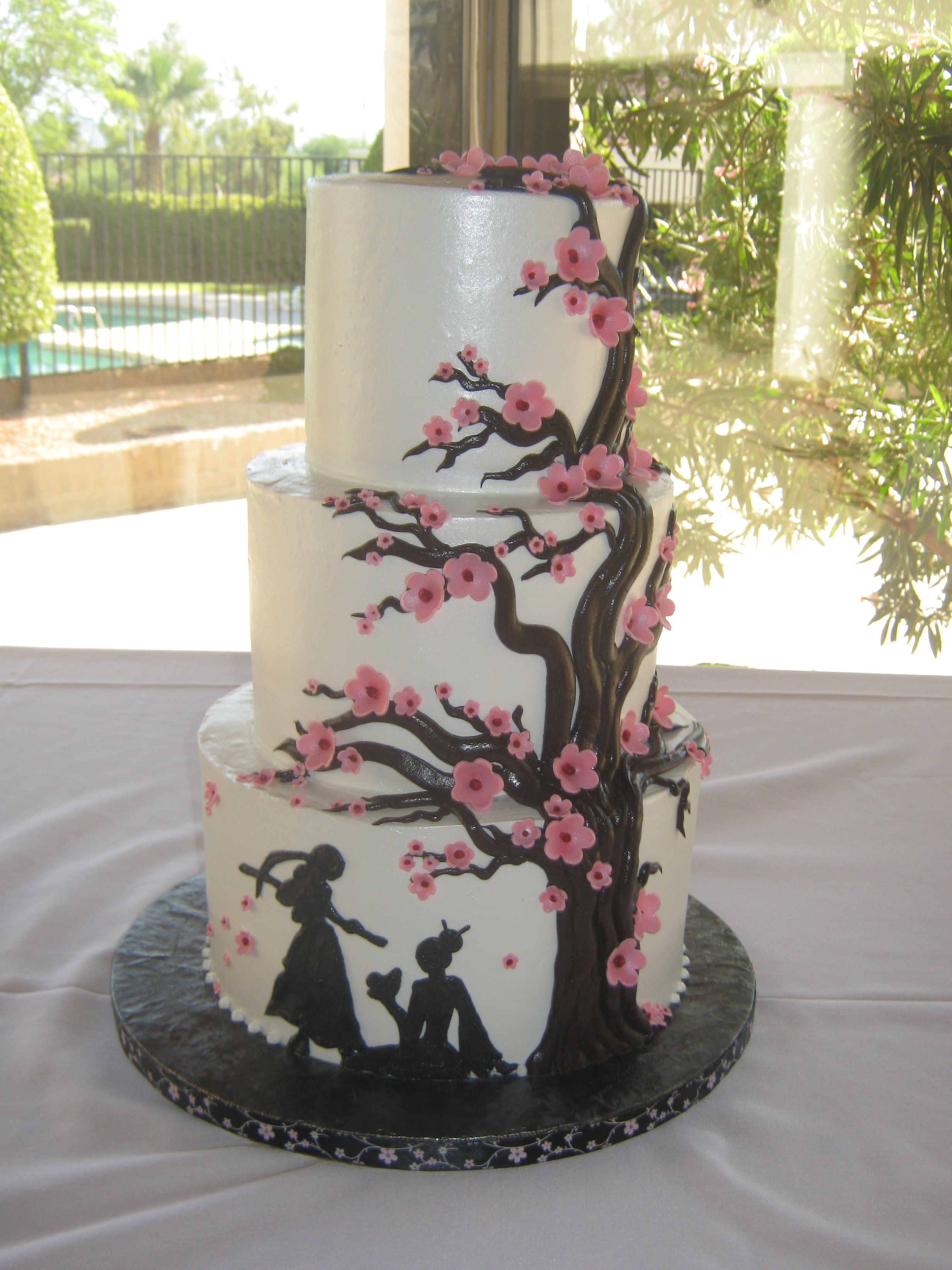 Japanese Cherry Blossom Tree And Warrior Tiered Wedding Cake