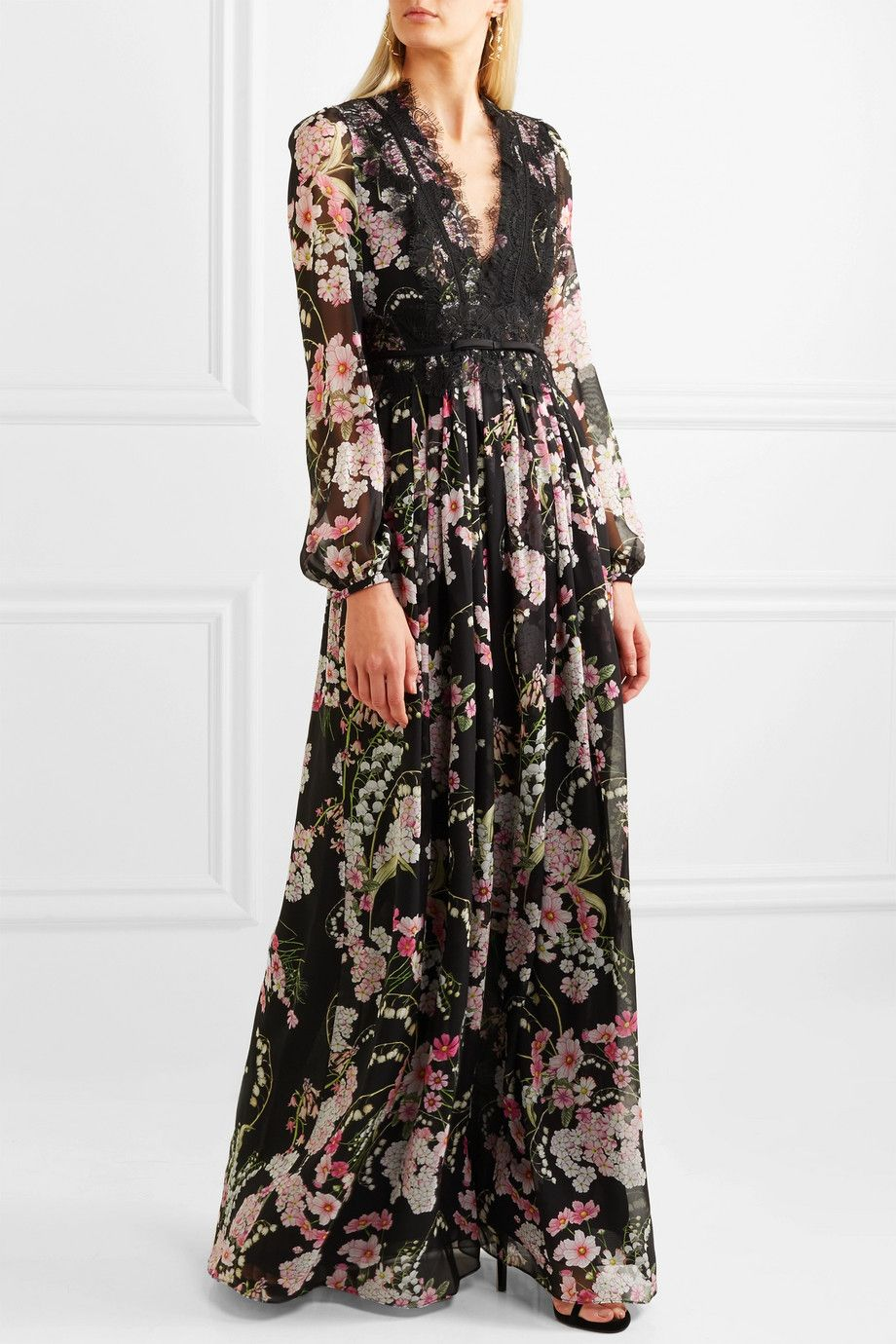 Lace-trimmed Floral-print Silk-chiffon Maxi Dress - Black Giambattista Valli Z97aGEse