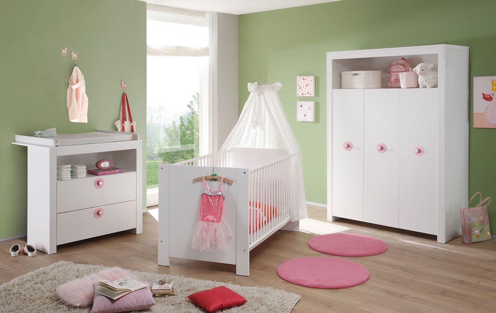 Cute Babyzimmer OLIVIA in der Ausf hrung Dekor Wei und Absetzungen in Rosa oder auch in Blau