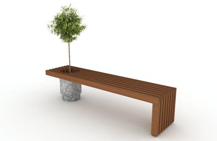 Banco en madera de exterior y maceta de cinc esta pensado - Bancos de madera para interior ...