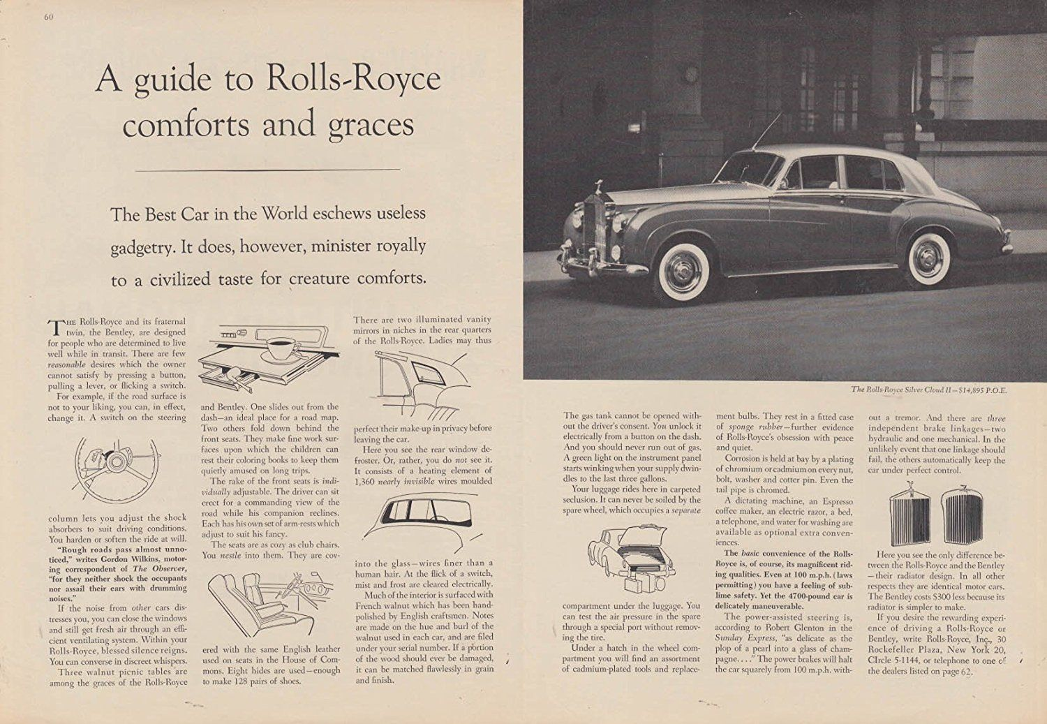 Guide to Rolls-Royce Silver Cloud II comforts and graces ad