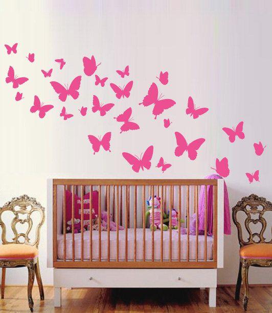 Butterflies Nursery Wall Sticker, Butterflie Decal Baby Room Decor Art, Butterflies Wall Decals