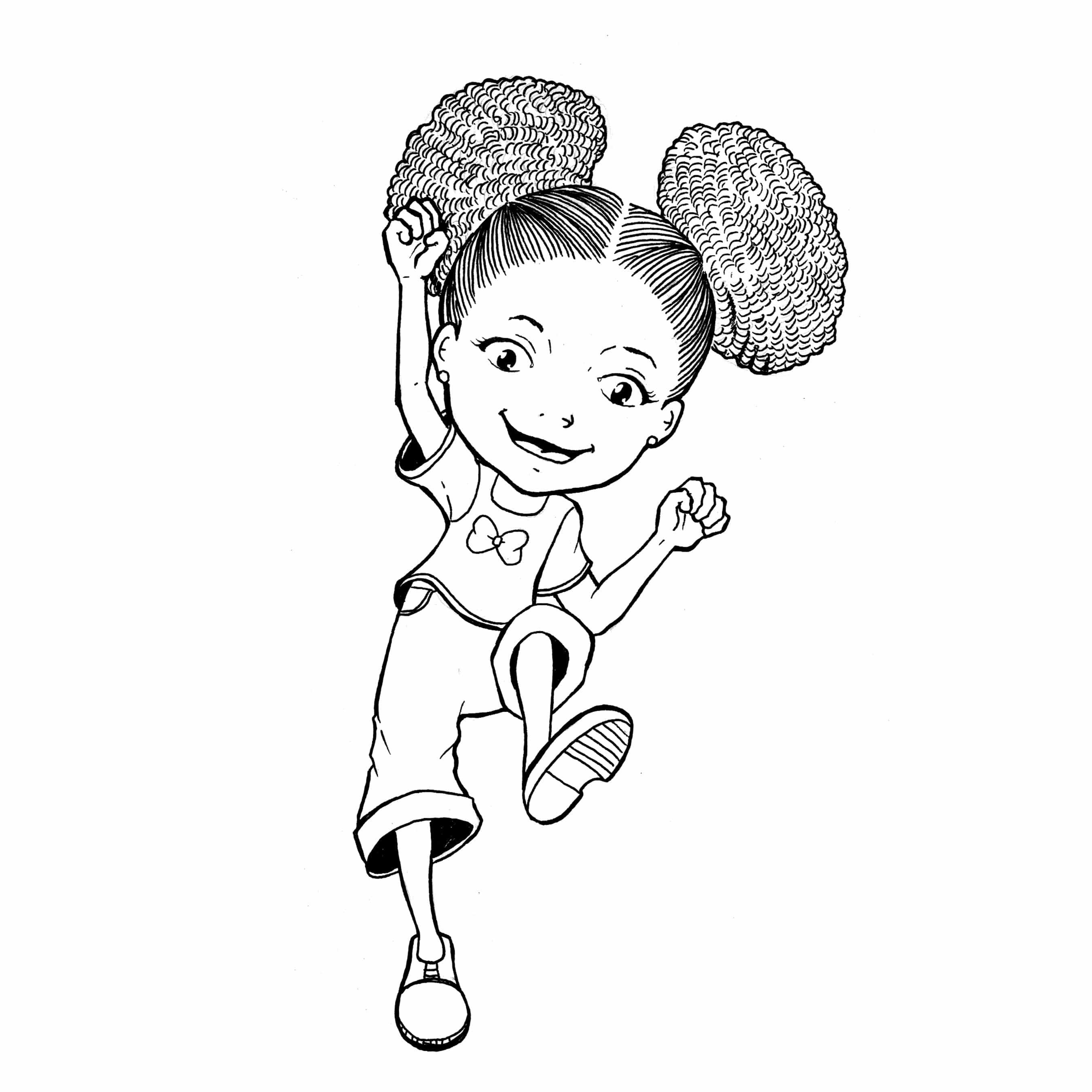 With Curly Hair Coloring Page Cool Coloring Pages