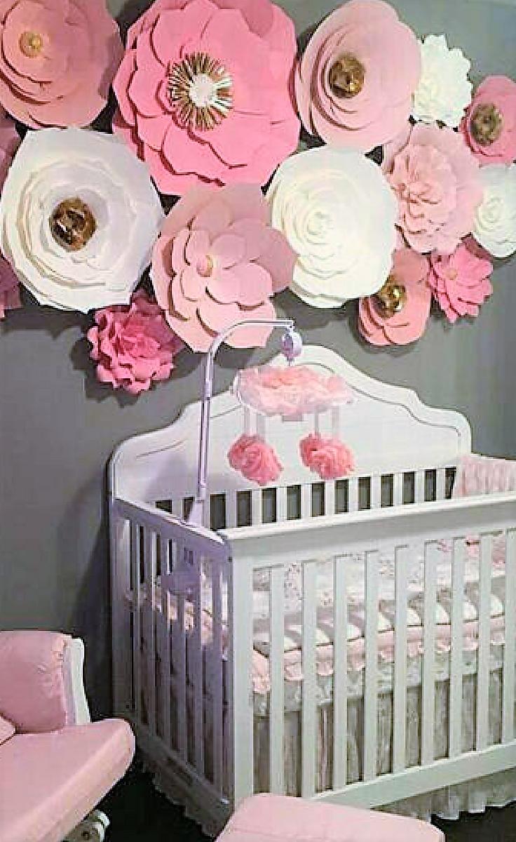 Pink paper flowers wall decor for girls nursery wall art nursery