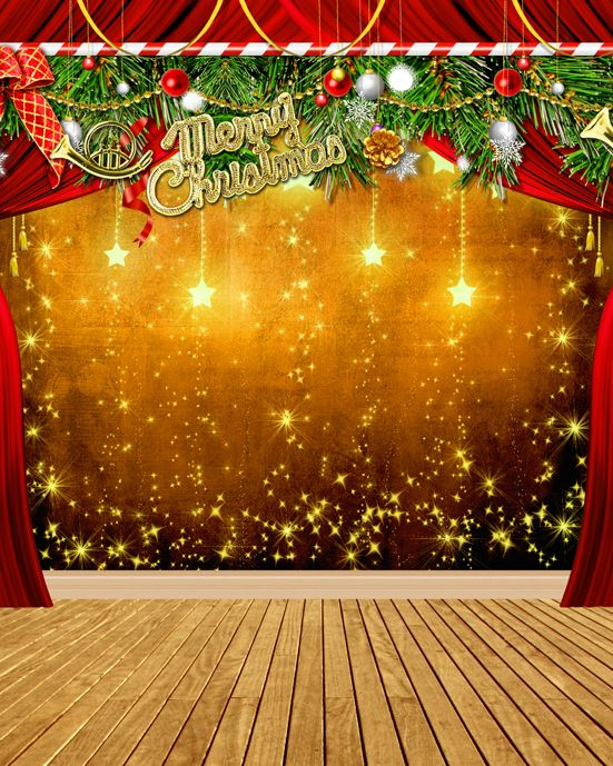 Click to Buy \u003c\u003c Custom vinyl print cloth star Christmas party stage