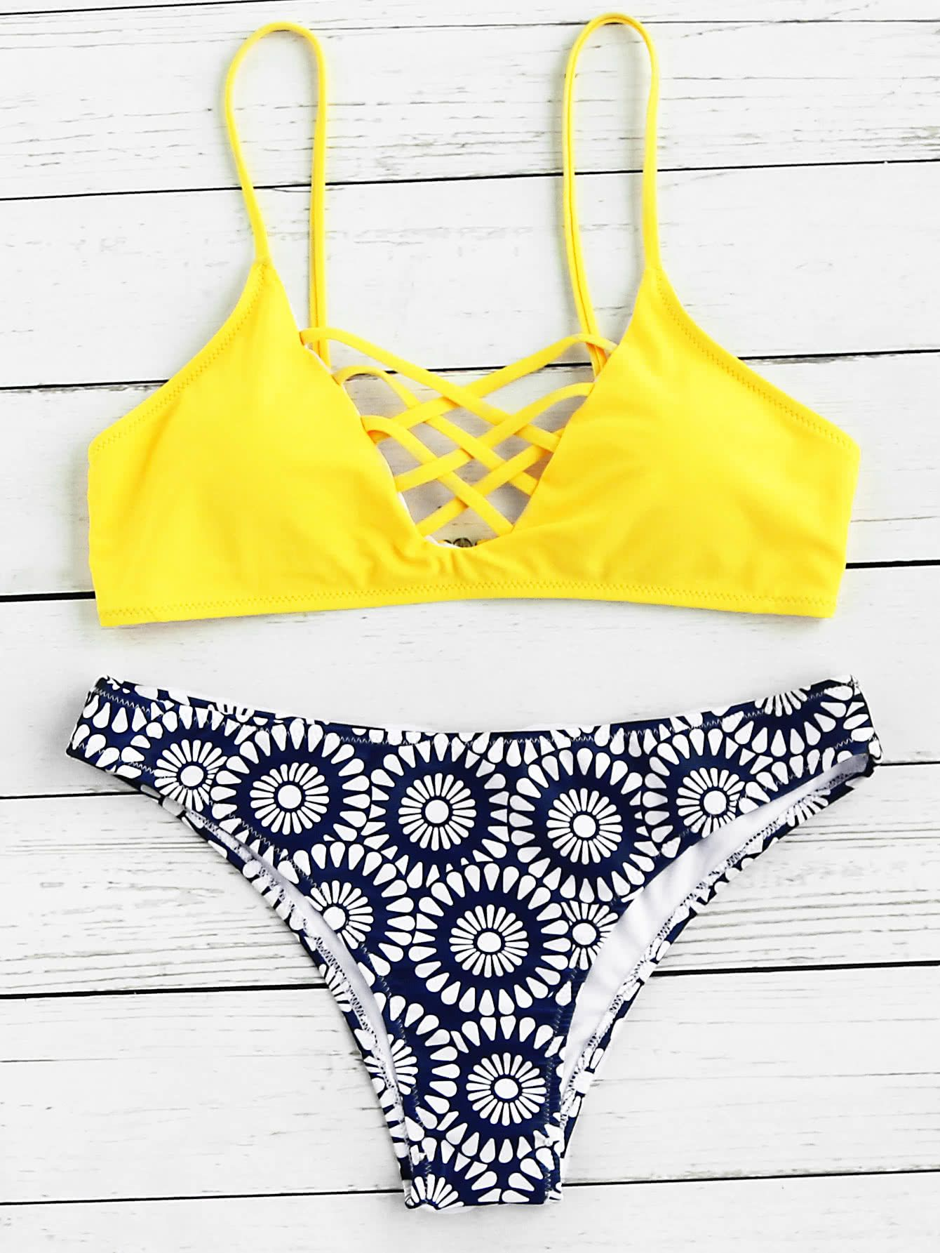 b59eaa7192cd9 Shop Criss Cross Front Mix   Match Bikini Set online. SheIn offers Criss Cross  Front Mix   Match Bikini Set   more to fit your fashionable needs.
