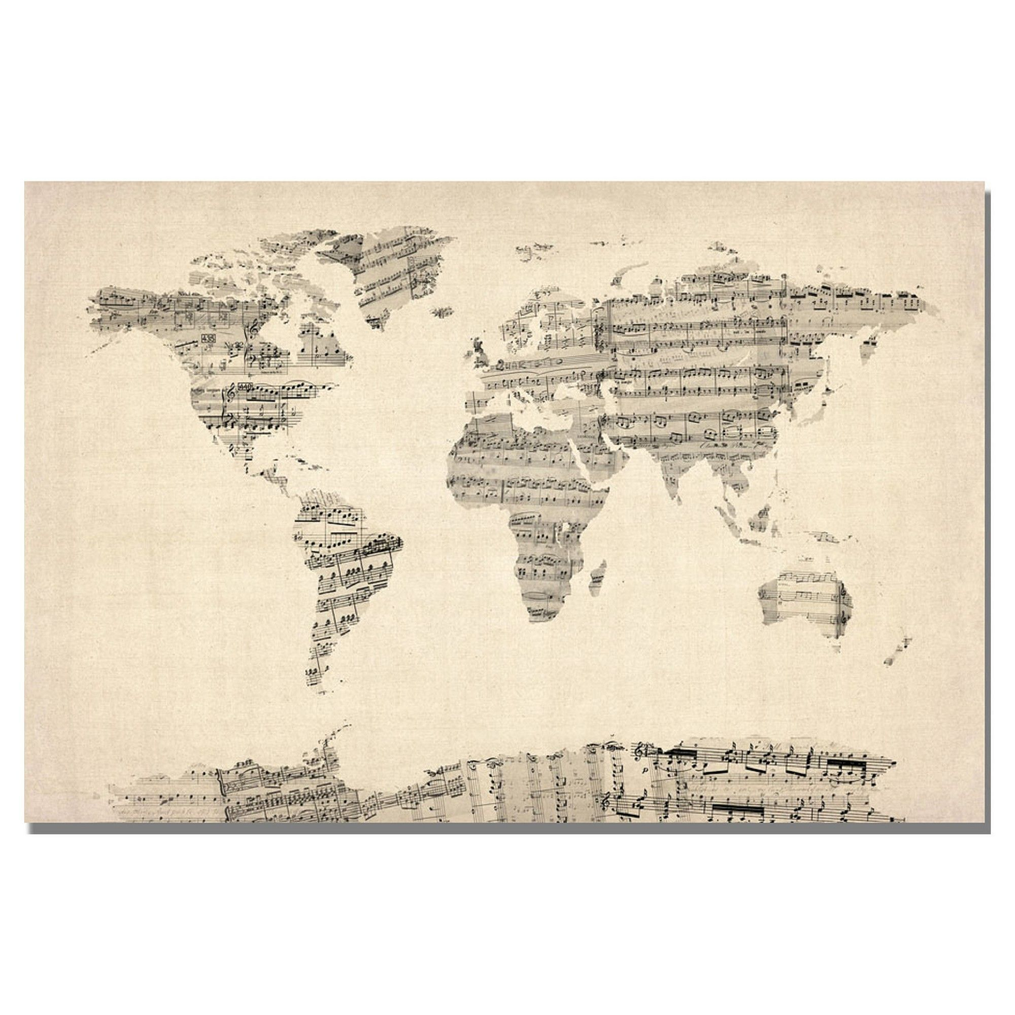 Old sheet music world map by michael tompsett ready to hang canvas old sheet music world map by michael tompsett ready to hang canvas wall art beige gumiabroncs Image collections