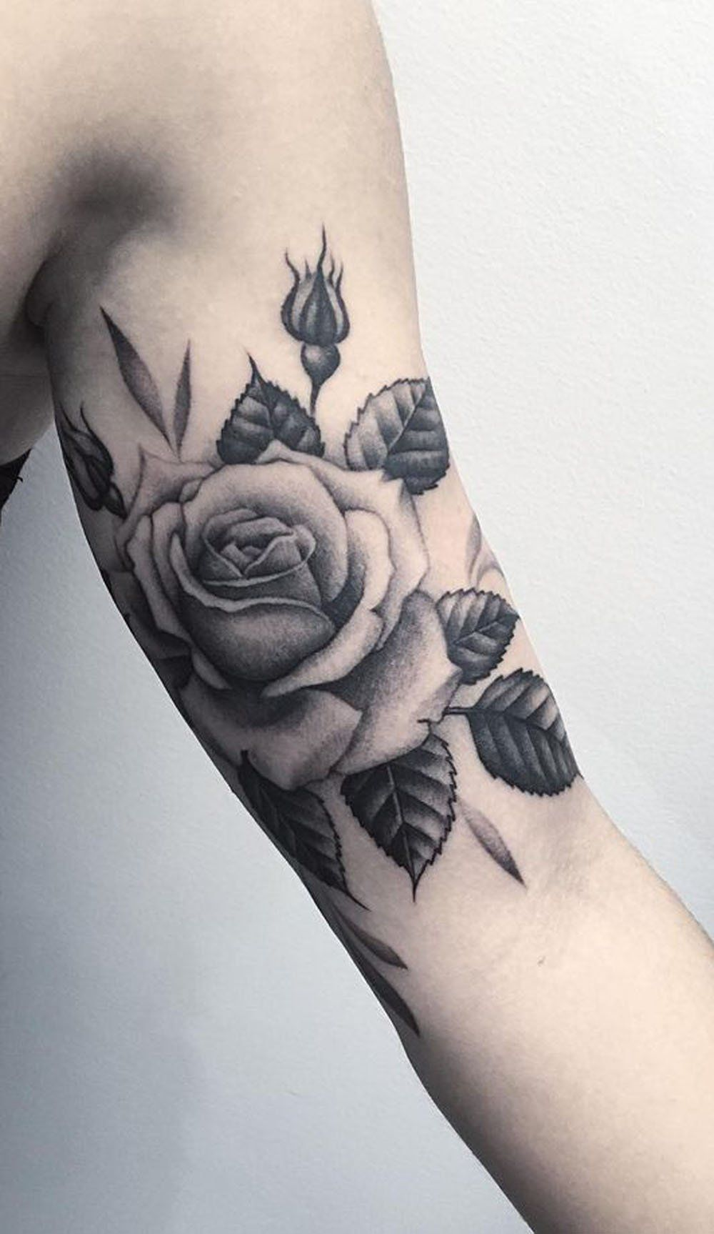 d6e2bed27 Realistic Black and White Rose Bicep Arm Tattoo Ideas for Women -  www.MyBodiArt.com