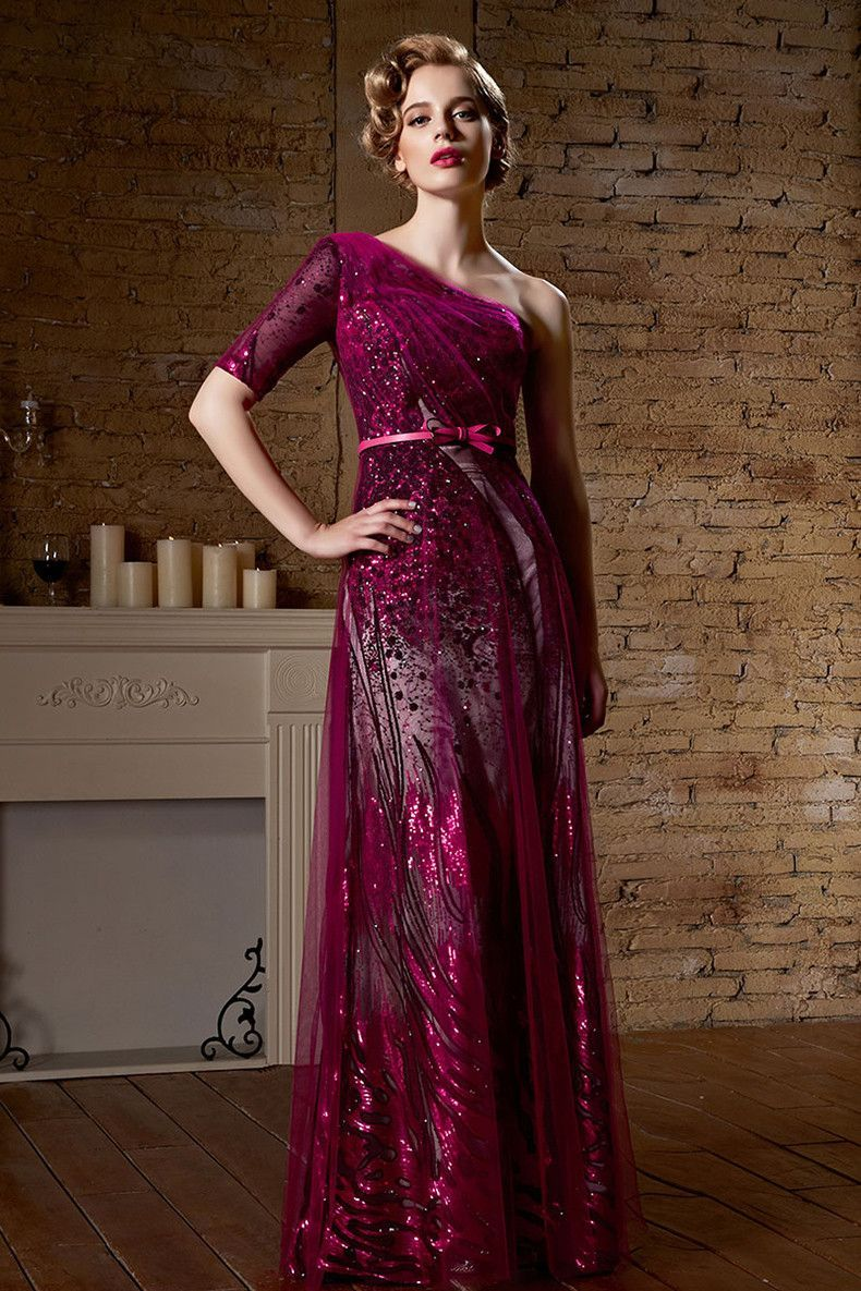 Dark red shimmery one shoulder asymmetrical long formal prom evening
