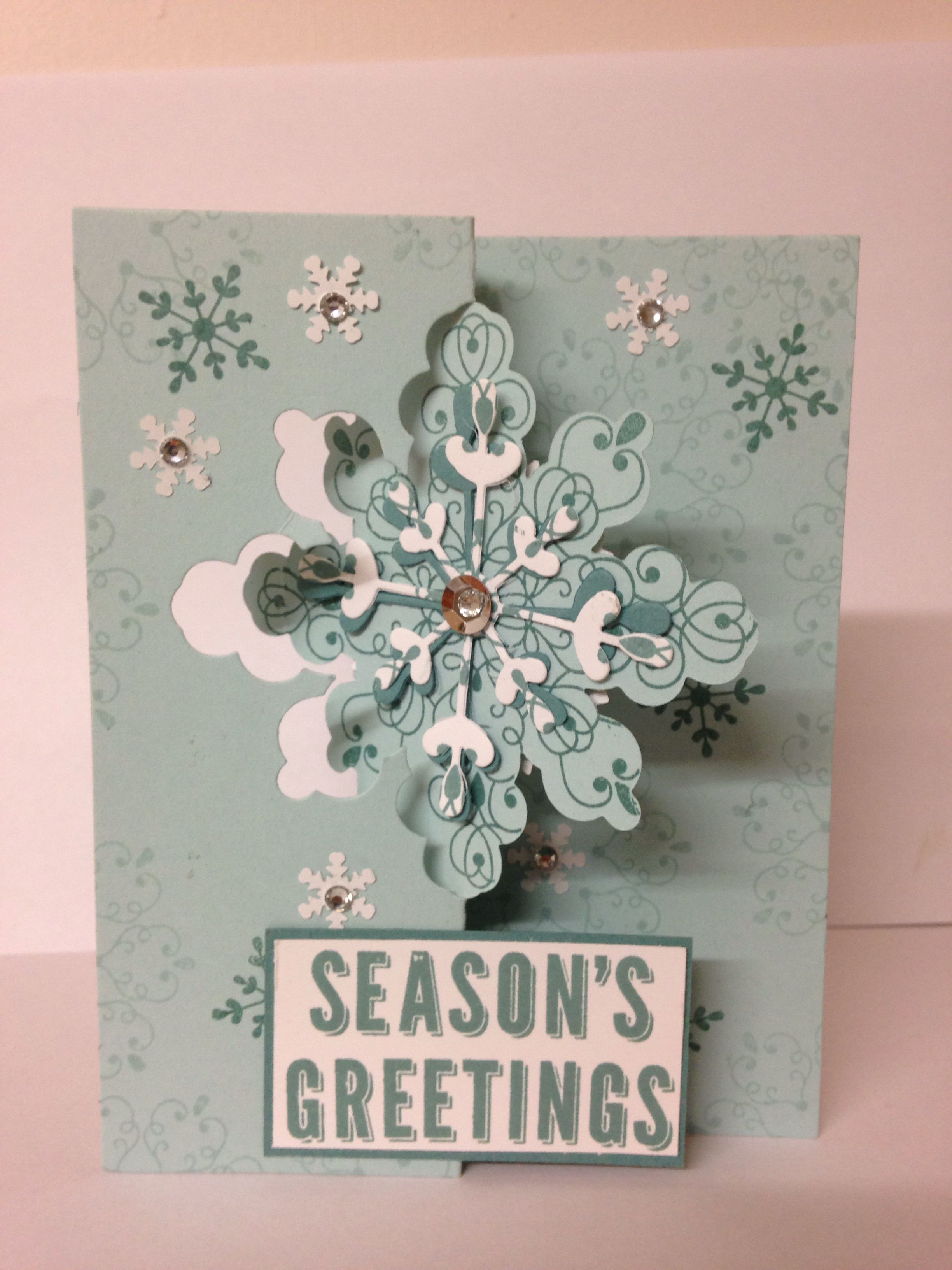 Stampin Up - Holiday Catalogue, Snowflake card thinlit dies and Matching Letterpress winter Stamp Set on soft sky card stock