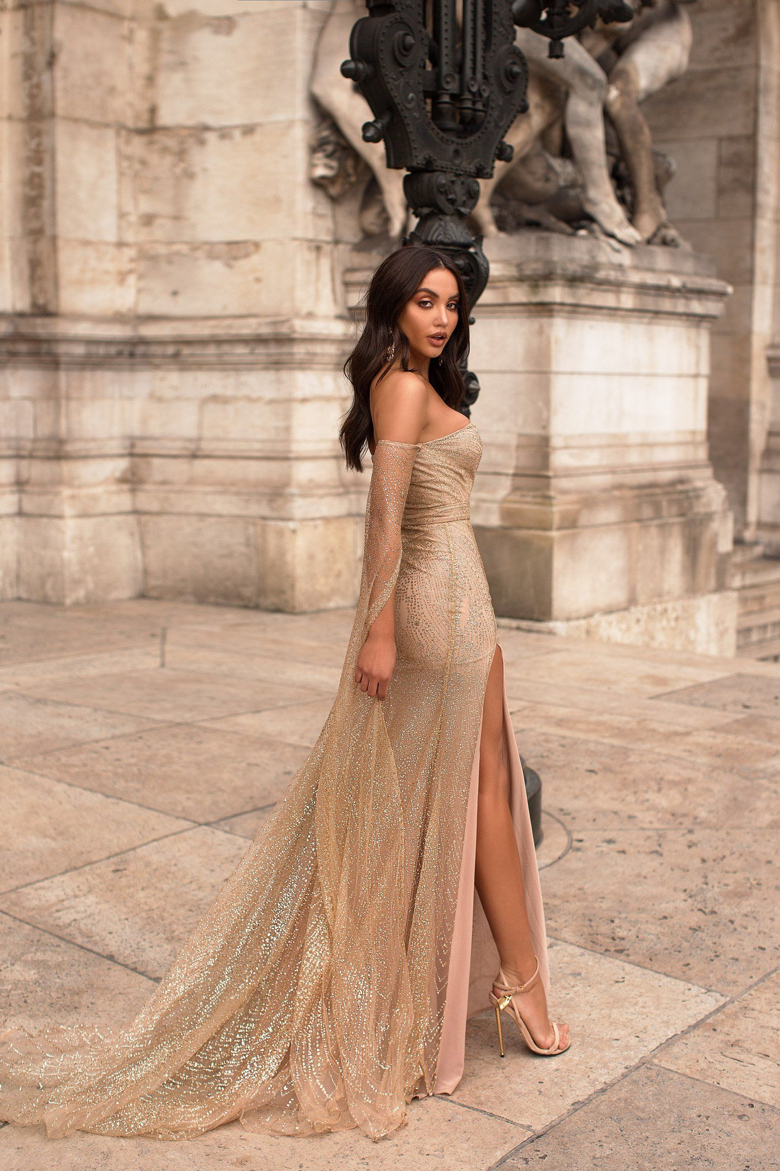 3cf99e24bea1 Jocelina - Gold Glitter Gown | Long Off-Shoulder Sleeves & Side Slit Bling  Prom